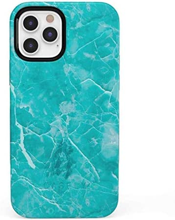 Casely iPhone 12/12 Pro Phone Case - Beautiful Teal Blue Seaglass Case 360 Degree Coverage for Your Phone - Precise Cutouts, 1mm Raised Lip Camera Protection - Bold