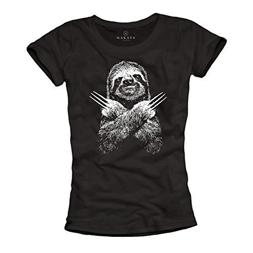 MAKAYA Camiseta con Dibujo Perezoso para Mujer - T-Shirt Basica Casual Top Verano Wolverine Negra Talla M