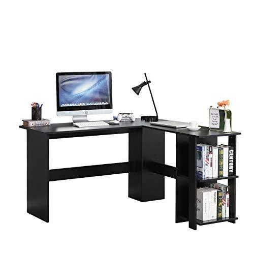 SogesHome Scrivania Angolare grande con 2 ripiani,Scrivania per Computer a Forma L, Tavolo PC Robusto, Postazione di Lavoro per Casa Ufficio Studio,130 cm x 136 cm SH-XTD-SC01-BK