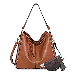 small CCW Brown Large Hobo Women's Wallet Leather Shoulder Bag with Studs and Pistols …