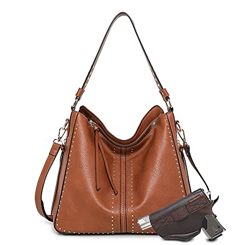 Montana West Tote Bag for Women Large Concealed Carry Purses and Handbags Faux Leather Hobo Bags Shoulder Bag with Crossbody Strap and Gun Holster MWC-G1001BR
