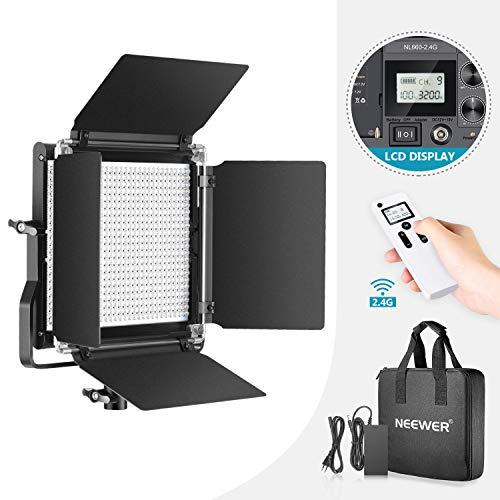 Neewer 2,4G 660 Bicolor LED Luz Video Regulable con Pantalla LCD y Control Remoto Inalámbrico para Fotografía Productos Retrato, Grabación Video con Soporte Metal U y Barndoor