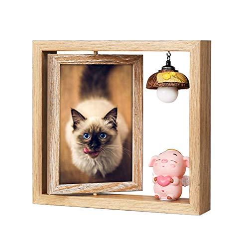 Nyfcc fotolijst 4x6 hout dubbelzijdige tafel eenvoudige persoonlijkheid leven foto kamer decoraties varken lamp schattig