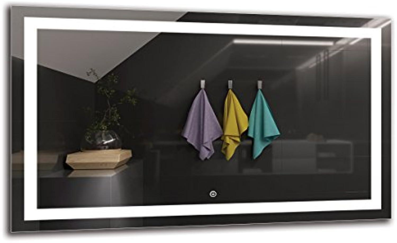 LED Spiegel Deluxe - Spiegelmaen 100x60 cm - Touch Schalter - Berührungsschalter - Badspiegel - Wandspiegel Lichtspiegel - Fertig zum Aufhngen - ARTTOR M1ZD-47-100x60 - Lichtfarbe Wei kalt 6500K