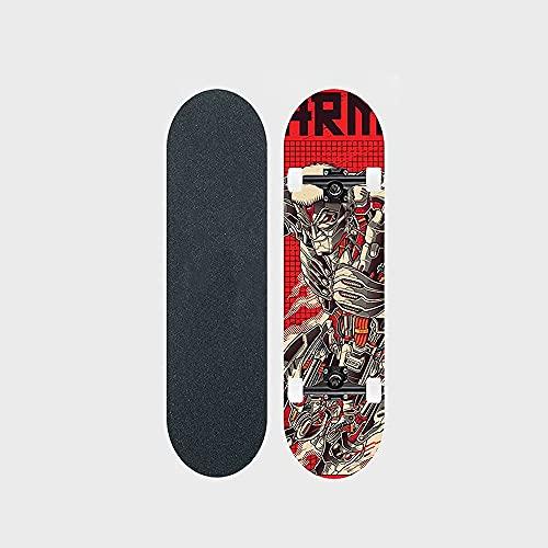 """Attack On Titan Series Anime Skateboard Blindado Titan Patrón De Transferencia Térmica Tabla De Skate De Arce De 7 Capas Tabla De 31 """"Long Board Double Rocker Bearing 100KG Adecuado Para Principiantes"""