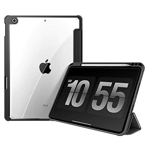 Case for iPad 10.2 Inch 8./7th Generation, Slim Transparent Back Smart Cover Case with Auto Wake/Sleep, Pen Holder, Black