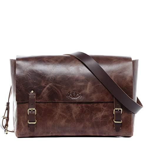 SID & VAIN® Borsa messenger vera pelle DUNCAN tracolla laptop porta pc 13 pollici borsello a spalla Lavoro uomo cuoio marrone
