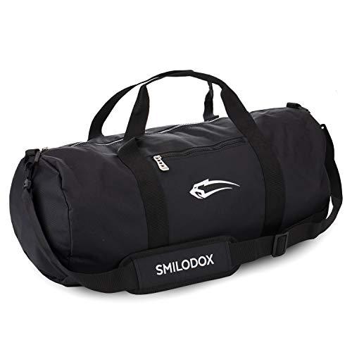 SMILODOX Sporttasche 2.0 | Barrel Bag ideal für Fitness Sport Gym & Reisen | Trainingstasche mit vielen Fächern Tragegurt & Schultergurt | Reisetasche - Tasche Rund, Farbe:Schwarz