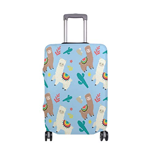 ALINLO Cute Llama Alpaca Cactus Floral Luggage Cover Baggage Suitcase Travel Protector Fit for 18-32 Inch