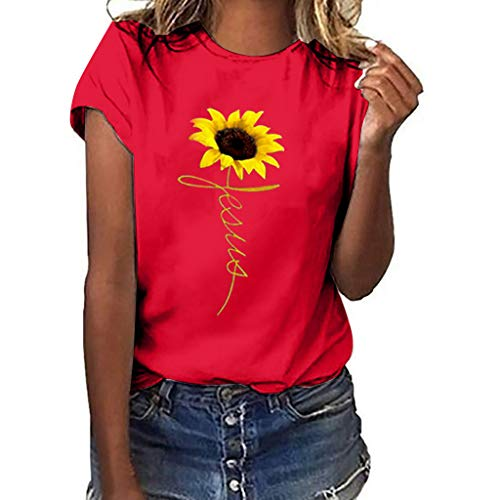 Best Review Of Lovor Womens Plus Size Sunflower Gesture Print Short Sleeve T-Shirt Tops Pullover Tee...