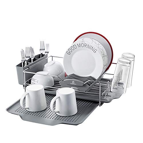 KINGRACK Stainless Steel Dish Drying Rack with Tray 4 PC Combo for Counter,2 Tier Dish Rack with Utensil Drying Rack,Dish Drainboard and Dish Tray