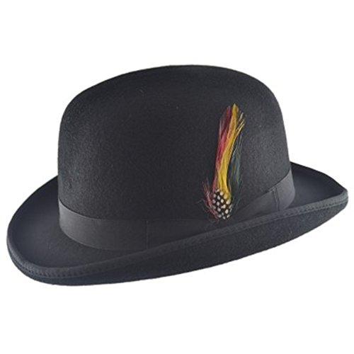 MAZ Hochwertiger Bowlerhut mit Feder, harte Oberseite, 100 % Wolle, mit Satin ausgekeidet Gr. Medium, schwarz