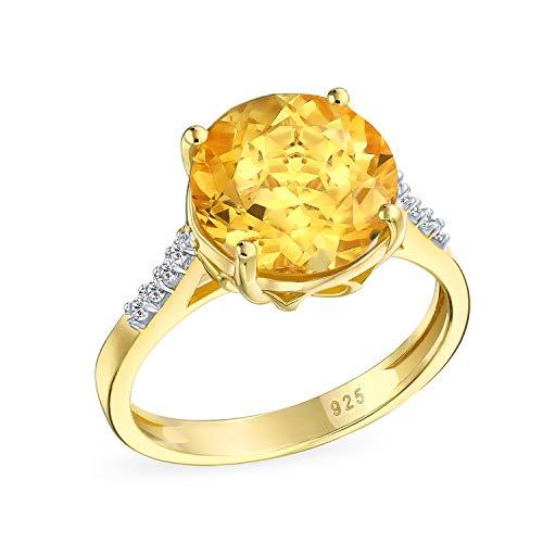 3Ct Solitario Gemstone Circón Citrino Amarillo Acio Anillo Mujer Plata Chapada En Oro 14K Noviembre Piedra Nacimiento