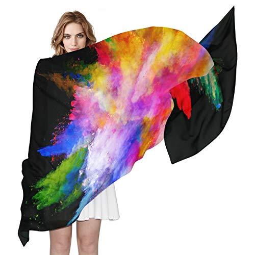 QMIN Seidenschal, Regenbogenfarben, farbenfrohes Kunst-Explosionsmuster, modisch, lang, leicht, für Damen und Mädchen