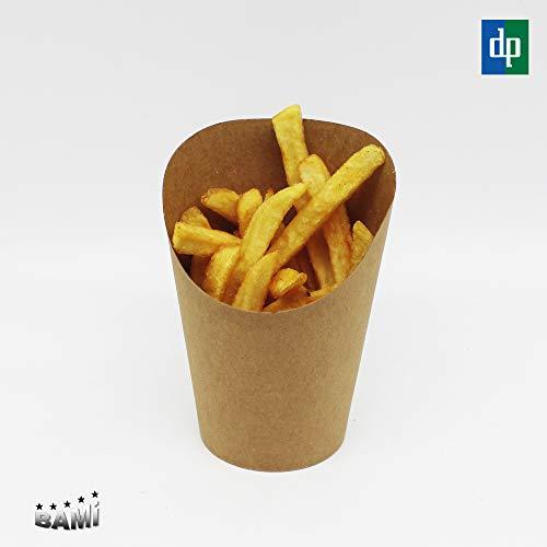 BAMI EINWEGARTIKEL 100 x Pommesschütte Pommes Becher Pommesbox Pommestüte Wrap-Box aus Pappe, Braun, 12oz, 90x59mm H=118mm (70mm)