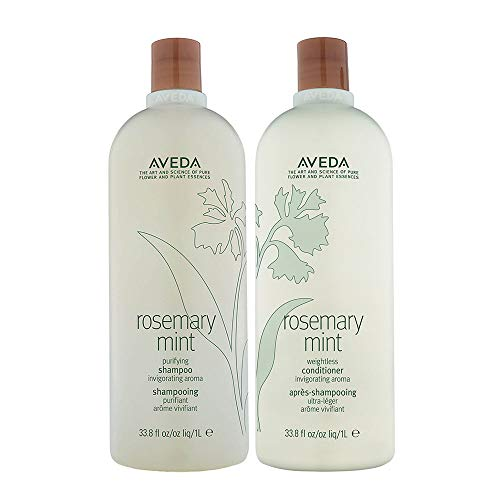 Aveda Mint Purifying Shampoo and Weightless Conditioner Duo Liter, Rosemary