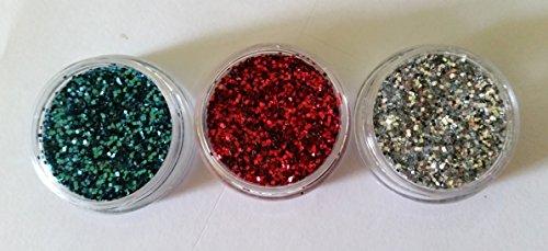 NEW Lot de 3 petites boîtes Nail Art Glitter Turquoise/Rouge et Argent Paillettes Poudre Poudre Poussière Poudre Paillettes 3 G döschen Jaquette pour einarbeitung dans Kit ongles ongles Design