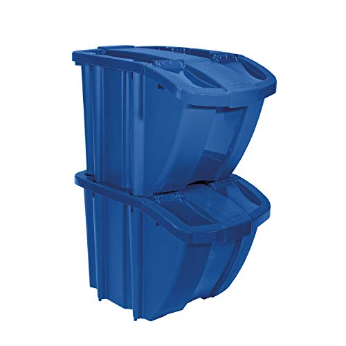 Suncast Bin Kit Stackable Organizer-Front Flap for Dry Storage Stores All Kinds of Recyclables, Blue