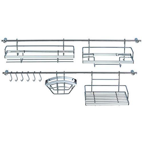 Ribelli Küchen Organizer 16-teilig - 2 Hakenleiste (je 78 cm) mit 4 Halterungen + 6 Haken - mit 2 Gewürzregalen + Hängekorb uvm. aus verchromten Metall