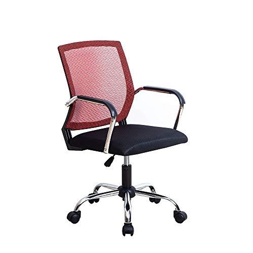 AMYHY Silla de oficina para computadora para discutir la silla giratoria de malla con elevación simple para juegos, negro/rojo (color: J)