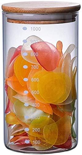 Recipientes Hermeticos Alimentos Tarjetos de vidrio de contenedores de alimentos Jarras de almacenamiento hermético con tapa de madera Tanque de almacenamiento de alimentos de vidrio vintage Almacenaj