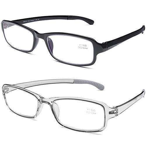 DOOVIC Blaulichtfilter Lesebrille für Damen/Herren Eckig Vollrand Transparente Grau/Schwarze Brille mit Stärke Flexible Blaufilter Computer Brille 1,5
