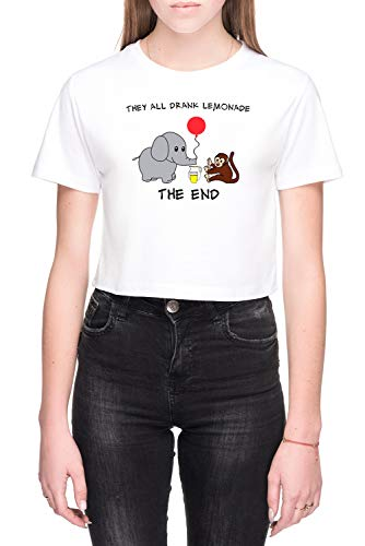 The Elephant Who Lost His Balloon Dames Crop T-Shirt Wit Women's Crop T-Shirt White