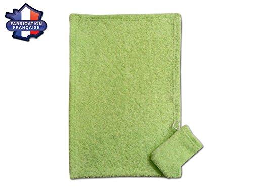 Modulit–Toalla infantil + pequeño guante Assorti. En esponja, toalla adaptada para Facial o las manos de los niños. Creación francesa verde verde