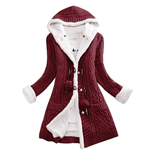 Women Cable Knit Cardigan Sweater Chunky Open Front Outwear Long Sleeve Fleece Lined Warm Hooded Coat Knit Drape Coat Memela Wine
