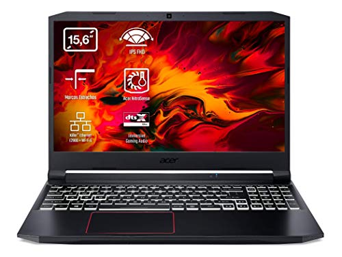 Acer Nitro 5 - Ordenador portátil gaming 15.6' FullHD (Intel Core i7-10750H, 8GB RAM, 512GB SSD, Nvidia GTX1650-4GB, Windows 10 Home), Color negro - Teclado QWERTY Español