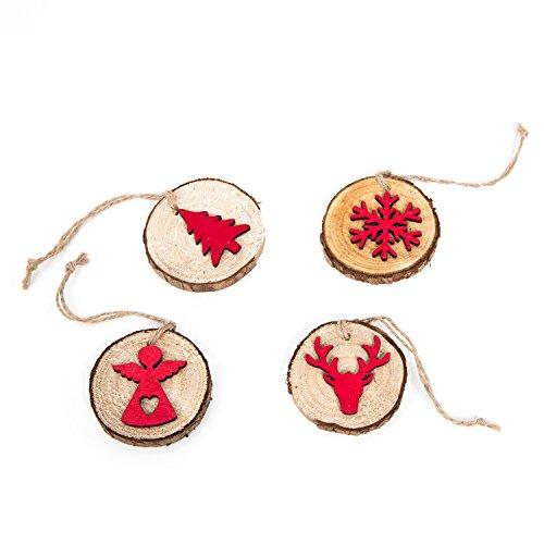 Set: 4 ciondoli natalizi in legno, rosso, marrone, naturale, rotondi, per albero di Natale, 5-8 cm, con fiocco di neve, albero di Natale, cervo, angelo, albero di Natale