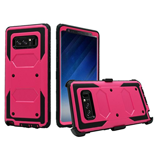Galaxy Note 8 Case, Customerfirst, Heavy Duty Shockproof Full Body Protection Rugged Hybrid Case Cover with Swivel Belt Clip and Kickstand for Samsung Galaxy Note 8 6.3' 2017 Release (Pink Black)