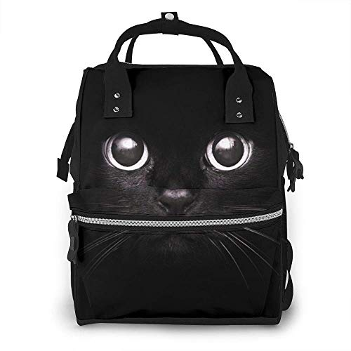 Unique Big Black Cat Diaper Bag Backpack Waterproof Multi-Function Changing Bags Maternity Nappy Bags Durable Large Capacity for Mom Dad Travel Care