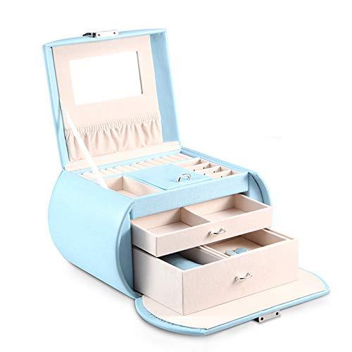 ZXL Organisateurs cosmétiques Sac de cosmétiques Chambre Vanity Mirror Girl Boîte à Bijoux Grande capacité de Rangement Sac Cadeau d'anniversaire Sac à Main (Couleur: Bleu, Taille: 23 * 16 * 17c
