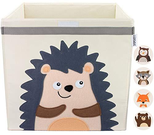 GLÜCKSWOLKE Kinder Aufbewahrungsbox I Spielzeugkiste mit Deckel und Griffe für Kinderzimmer I Spielzeug Box Igel (33x33x33) zur Aufbewahrung im Kallax Regal I Waldtiere Motiv (Eddi Erdigel)