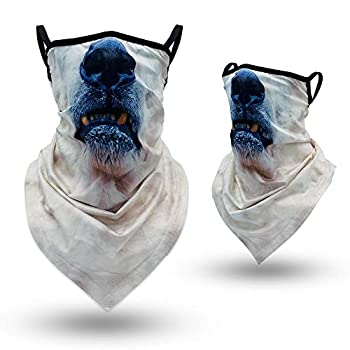 3D Animal Neck Gaiter Face Mask with Ear Loops Funny Polar Bear Face Cover Bandana Scarf Mask for Women Men UV Sun Protection Windproof Dust Breathable Elastic Mask for Motorcycle Cycling Hiking Ski