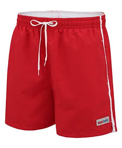 Mount Swiss Männer Badehose Dario mit seitlichen Taschen Gesäßtasche I Modische Herren Shorts Schwimmen Freizeit Wassersport I Badeshorts in der Farbe Rot, Größe 5XL