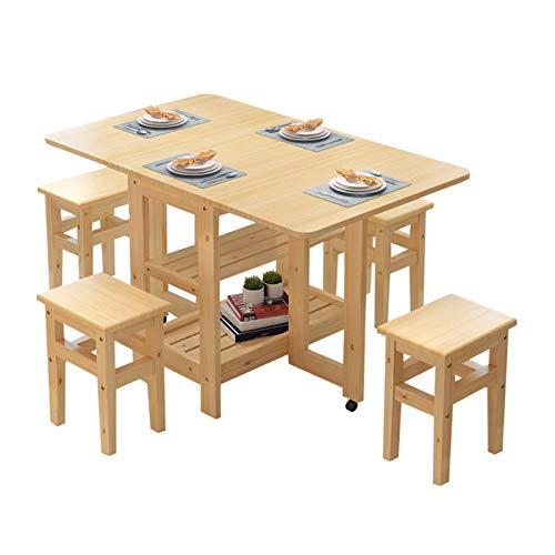 N&O Renovation House 12m 5-teiliges Set Tisch + 4 Hocker Klapp Esstisch Set Drop Leaf Massivholz Küchenmöbel Massivholz Kleine Wohnung Stall Mesa Schreibtisch Esstischsa