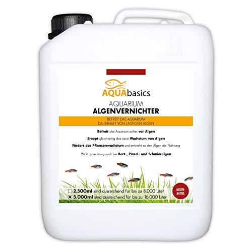 AQUAbasics Aquarium Algenvernichter für alle Schmieralgen, Bartalgen und Pinselalgen - Dauerhaft, schnell und sicher Algenfrei, Größe:5 Liter