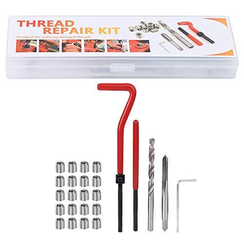 Herramienta de roscado, juego de insertos de reparación de roscas, kit de insertos de reparación de roscas M5 con caja de plástico transparente para maquinaria de procesamiento (paquete de 25)