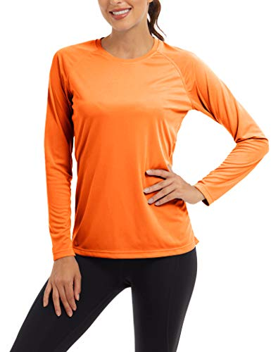TACVASEN Sonnenschutz Oberteil Langarm Laufshirt Damen UV-Schutz Rashguard UPF 50+ Hemd Leichte Workout Tops Surf Wasser T-Shirt Outdoor Wanderhemd Freizeit Urlaubs Hemd Sommer Shirt Orange