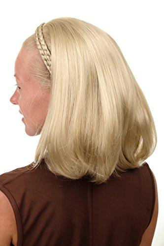 WIG ME UP ® - 90606+3-22 Mi-perruque noble avec serre-tête tressé hauteur d'épaules lisse blond clair