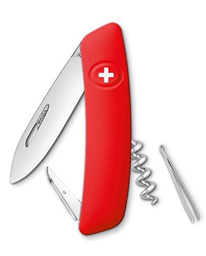 Swiza D01 Couteau suisse, verrouillage de la lame, poignée anti-dérapante - Rouge
