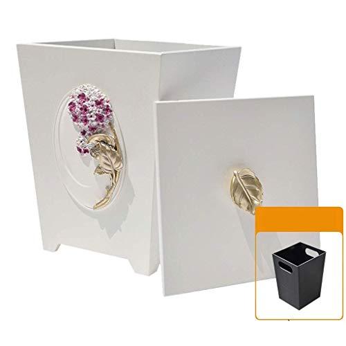Vuilnisemmer hout prullenbak hars ruimte recyclingcontainer prullenbak papieren manden met deksel prullenbak (kleur: D25cm)