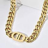 N\C 8mm Titanium Steel Cuban Chain Link Necklace Punk Hip Hop Thick Cuban Choker Chain Jewelry Gold Silver Cuban Necklace for Women's Girls