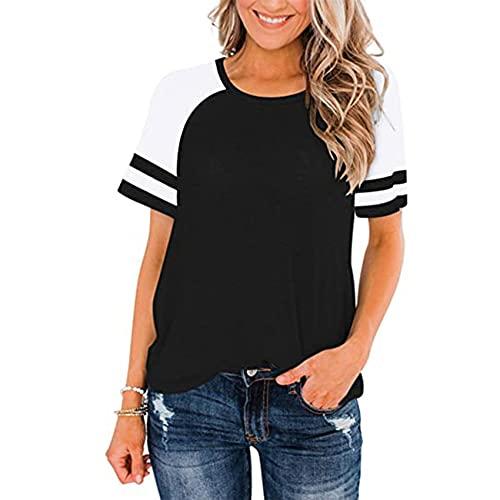 Primavera Y Verano Cuello Redondo para Mujer Color A Juego Casual Camiseta Deportiva De Manga Corta Suelta para Mujer