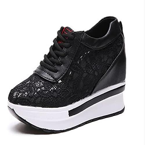 SHADIOA Zapatillas Gruesas para Mujer, Zapatos vulcanizados de Encaje, Moda Transpirable, Plataforma Blanca y Negra, Suela Gruesa, Calzado Informal para Correr, Mujer 9 Cm,Negro,38