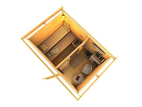 SAUNELLA Sauna Haus mit Ofen | Bausatz Gartensauna - Saunakabine Maße: 330 x 231 x 226 cm | Saunaofen Komplett Sauna Zubehör | Saunaofen mit ext. Steuerung 9 kW
