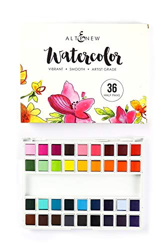 Altenew Watercolor 36 Pan Set, Watercolor Paints, 36 Vibrant Colors, Convenient Palette Case for Storing and Mixing Colors, Artist Watercolor Brush Included, Great for Watercoloring Techniques