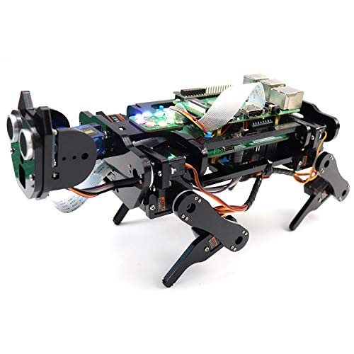 Freenove Robot Dog Kit für Raspberry Pi 4 B 3 B + B A +, Gehen, Selbstausgleich, Ballverfolgung, Gesichtserkennung, Live-Video, Ultraschall, Kamera-Servo Wireless RC
